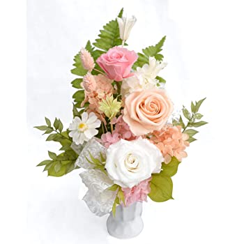 ゆう 柚:バラ入り桃色基調 プリザーブド フラワー お供え お盆 初盆 お彼岸 秋 彼岸仏花