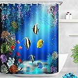 LB Duschvorhang Fischen Bad Vorhang Blau Polyester Wasserdicht Antischimmel Badezimmer Gardinen mit Haken, 150x180cm, Koralle Bunt