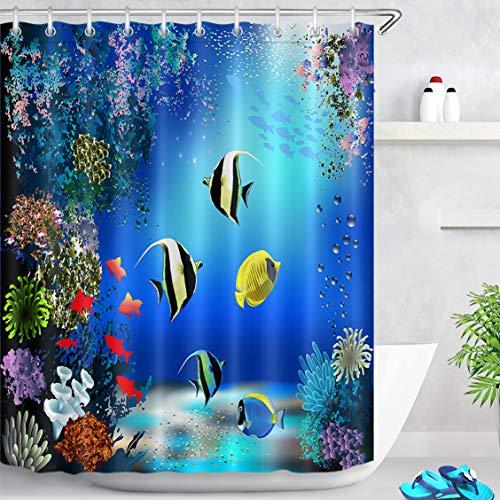 LB Duschvorhang Fischen Bad Vorhang Blau Polyester Wasserdicht Antischimmel Badezimmer Vorhänge mit Haken, 150x180cm, Koralle Bunt