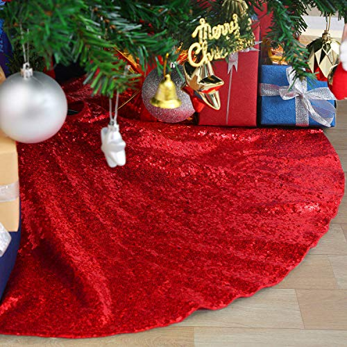 B-COOL 24Inch Christmas Tree Skirt Red Embroidered Sequin Xmas Christmas Tree Skirt for Christmas Decorations Outdoor Tree Ornament
