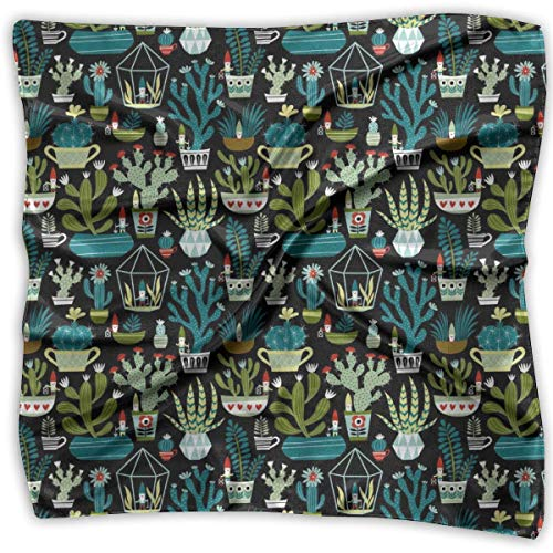 Silk Scarf Women¡¯s Large Square Satin Hair Scarf Gnomes Succulents Cactus Cacti Terrarium