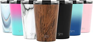 Simple Modern 12oz Classic Tumbler Travel Mug with Clear Flip Lid & Straw - Coffee Vacuum Insulated Gift for Men and Women Beer Pint Cup - 18/8 Stainless Steel Water Bottle Pattern: Wood Grain
