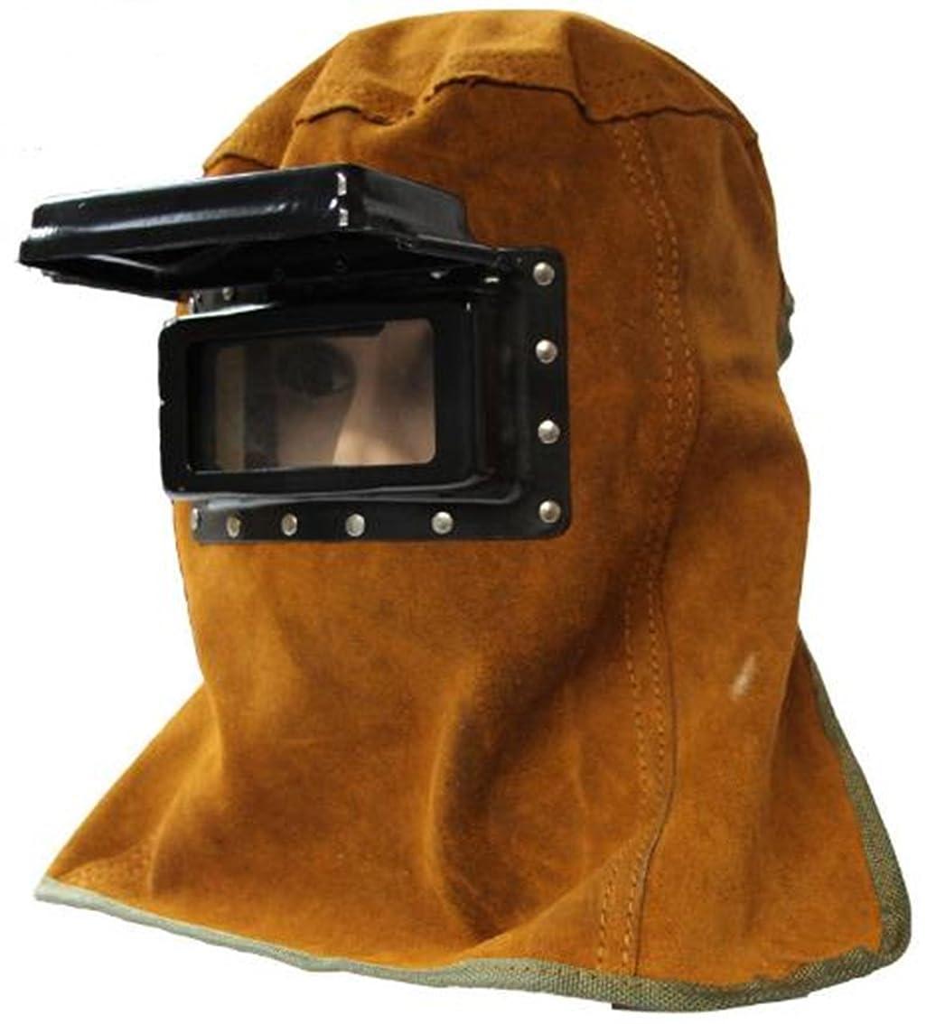 珍しい複製枯れるANR 溶接面 マスク 牛革製 火傷防止 遮光 窓 跳ね上げ ゴーグル付き かぶり 脱ぎ簡単