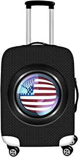 FOR U DESIGNS Men's Usa Flag Print Travel Suitcase Protective Cover Luggage COVER M-(22-25 inch) Black
