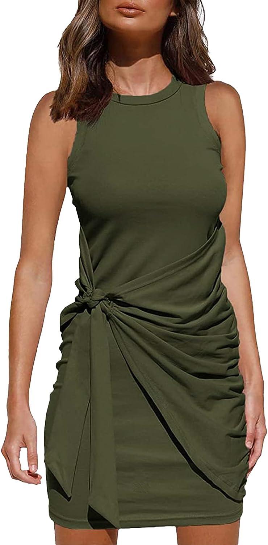 MeeKing Summer Casual Sleeveless Tank Dress for Womens Crewneck