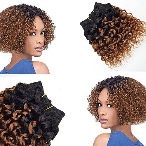 Barroko Hair 100% Brazilian Unprocessed Virgin Kinky Curly Human Hair Weave 4 Bundles Deep Curly Hair Extensions 8 inches (T1b/30#)