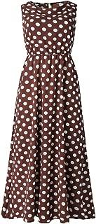 Hot Women Sexy Dot Printing Sleeveless O Neck Long Dress Evening Party Dress Print Polka Dot Round Neck Dress