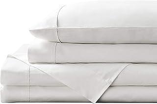 Brielle Home 300 Thread Count 100% Cotton Sheet Set, King, White
