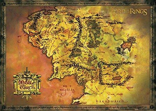 Close Up Herr der Ringe Poster Karte von Mittelerde (91,5cm x 61cm)