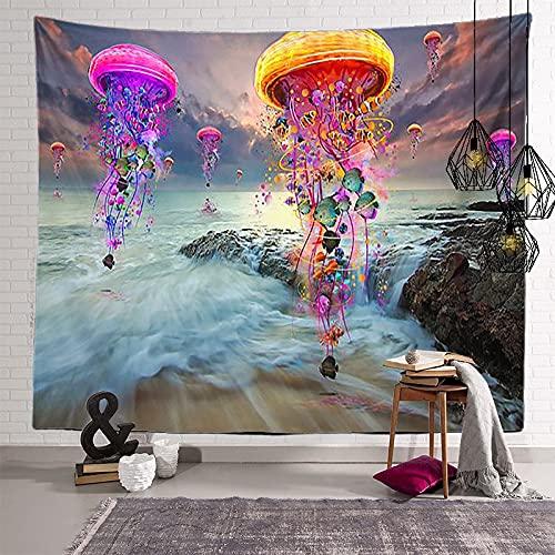 KHKJ Tapiz de Mandala de Hongos, cabecero de Pared, Colcha de Arte, Tapiz de Dormitorio para Sala de Estar, Dormitorio, decoración del hogar A14 95x73cm