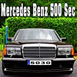 Mercedes Benz 500 Sec Starts & Accelerates Quickly to a High Speed with Tire Squeal, From Exhaust
