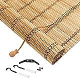 X1NGFU Persianas Enrollables de Bambú para Exteriores,Naturales Estores de Bambú de Estilo Japonés,Cortinas Privacidad Protección,Cortina de Madera,para Exteriores,Personalizable (80x80cm/32x32in)