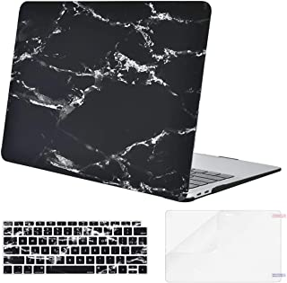Mosiso MacBook Air 13 Inch Case 2018 Release A1932 with Retina Display, Plastic Pattern Hard Case Shell & Keyboard Cover & Screen Protector Only Compatible MacBook Air 13, Black Marble