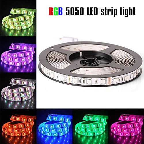 econoLED 12V Flexible SMD 5050 RGB LED Strip Lights, LED Tape, Multi-colors, 300 LEDs, Non-waterproof, Light Strips, Color Changing, Pack of 16.4ft/5m Strips