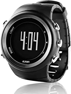 Sports Watch with Pedometer StopWatch Alarm Chronograph for Men T023B01 Black
