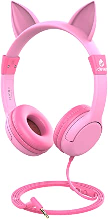 [2019 Upgrade] iClever Boostcare Kids Headphones Girls - Cat Ear Hello Kitty Wired Headphones for Kids on Ear, Adjustable 85/94dB Volume Control - Toddler Headphones with MIC for Kindle Tablet, Pink