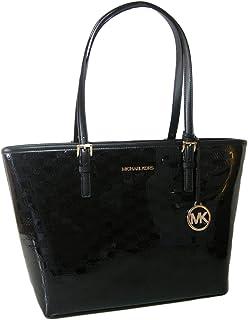 New Michael Kors Logo Purse Tote Black Patent Shoulder Hand Bag Gold MK fob