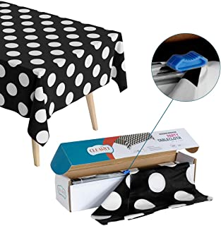 Polka Dot Plastic Tablecloth Roll - Durable Plastic Table Cover Roll | Indoor/Outdoor | 52 Inch X 100 Feet | Water Resistant Tablecover | Disposable Table Cloth with Easy to Use Safe Cutter - Black