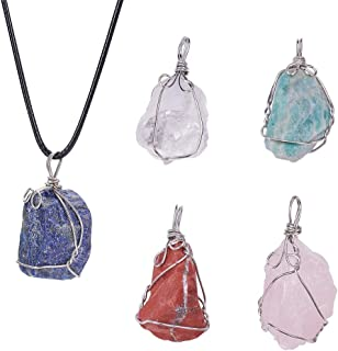 PH PandaHall 5pcs Natural Irregular Shape Gemstone Pendant Charms Quartz Healing Crystal Stone Pendant Necklace