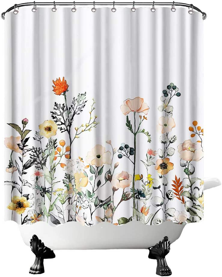 OuElegent Rustic Flower Shower Curtain Watercolor Spring Garden Nature Blooming Floral Bathroom Decor White Curtain Waterproof Fabric with Hooks 72