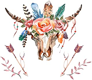 """DIY 5D Diamond Painting Numbering Kit Bull Head with Flowers and Feathers Boho Style Skull 16"""" X 20"""" Adult Children Rhines..."""