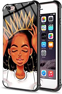 iPhone 7 iPhone 8 Case African Afro Girls Women Slim Fit Shockproof Bumper Cell iPhone Accessories Black Tempered Glass Protective Apple iPhone 7/8 Case - Queen Girls