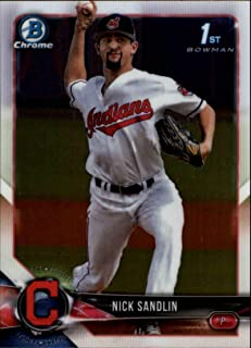 2018 Bowman Draft Chrome Baseball #BDC-34 Nick Sandlin Cleveland Indians Official MLB Trading Card Produced By Topps