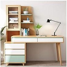 LJBH Computer desk, solid wood desk, bookcase combination, retractable bookcase computer desk, study table, modern minimal...