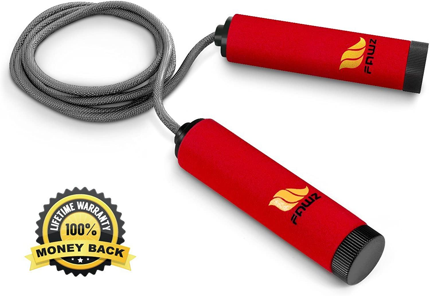 Jump Rope - Lifetime Money Back Guarantee with a High Quality Speed Rope for Your Fitness Needs - For Both Adults & Kids - Soft Comfortable Handles for Firm Grip, Cardio Training - Tangle Free Swivel, Cross Fitness - Easily Adjustable NylonB00N2F7KJYNutze