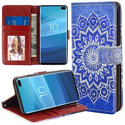 Naikuyi Funda tipo cartera con diseño de mandala azul con ranuras para tarjetas, correa de muñeca para Samsung Galaxy S10+ modelo para niña y mujer