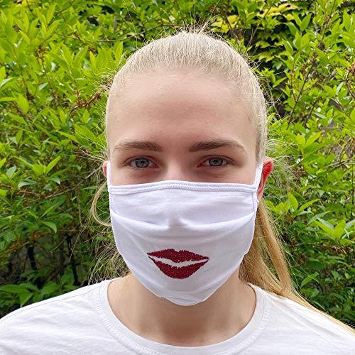 Communitymaske, Mundschutz aus Baumwolle, Kussmund Rot