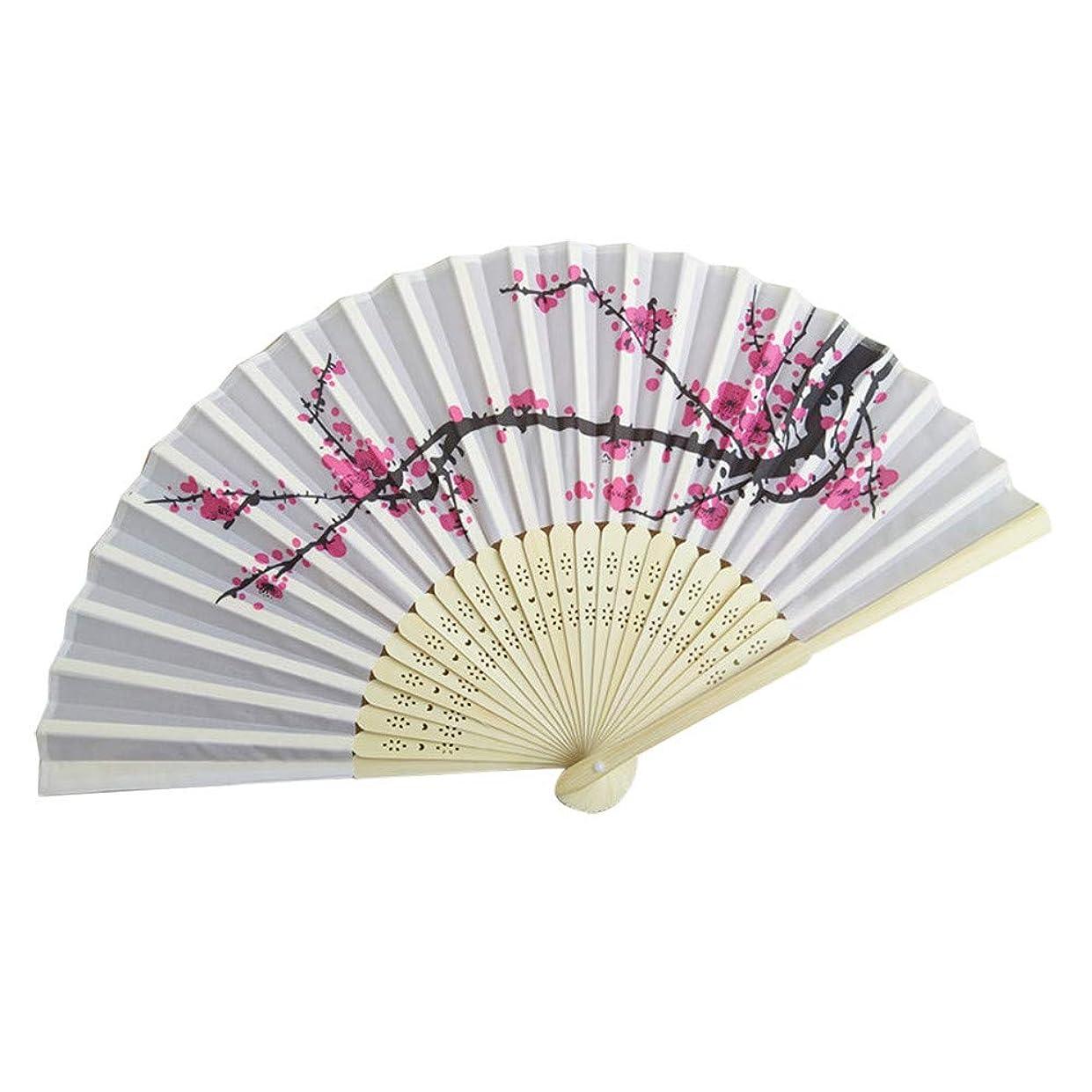 ワットカタログ小競り合いレース扇子 、折りたたみ手持ち花のファンダンスウェディングパーティーデコレーション装飾 (ホワイト)