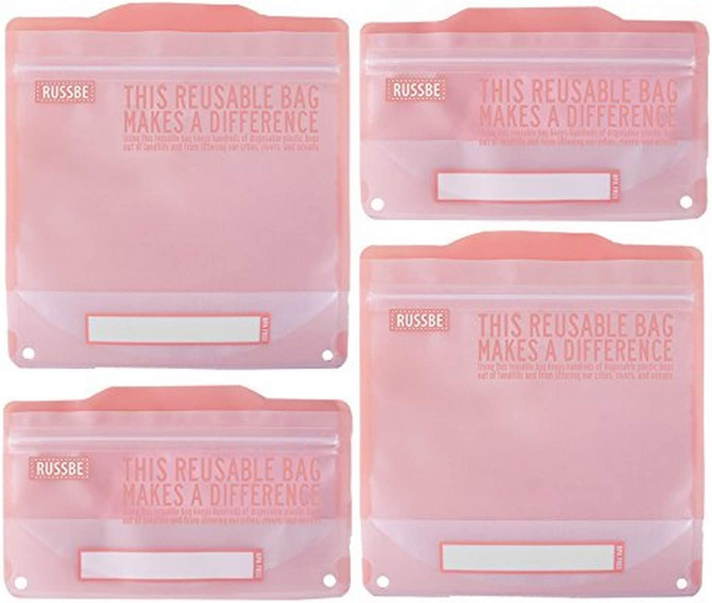 Russbe Lunch Systems, Reusable Snack and Sandwich Bags, Pink Statement