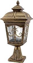 American Retro Lawn Light Vintage Outdoor Glass Lantern Black Pillar Lights Outdoor Waterproof Column Light Exterior Yard ...