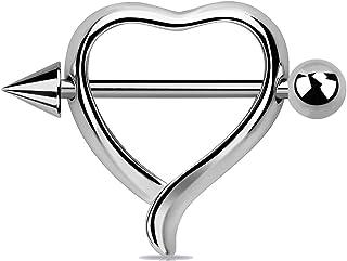 Piercing per capezzolo in titanio a forma di cuore, argento, senza nichel, con glitter