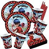 Amscan/Hobbyfun 68-teiliges Party-Set Miraculous Ladybug - Teller Becher Servietten Trinkhalme für...