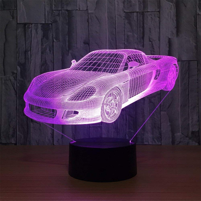 WMING Home LED 3D Auto Form Optische Tuschung Tischlampe Nachtlicht Stereo mit 5 Farbverlauf für Baby Kinder Freunde Festival Geschenk Party Dekor