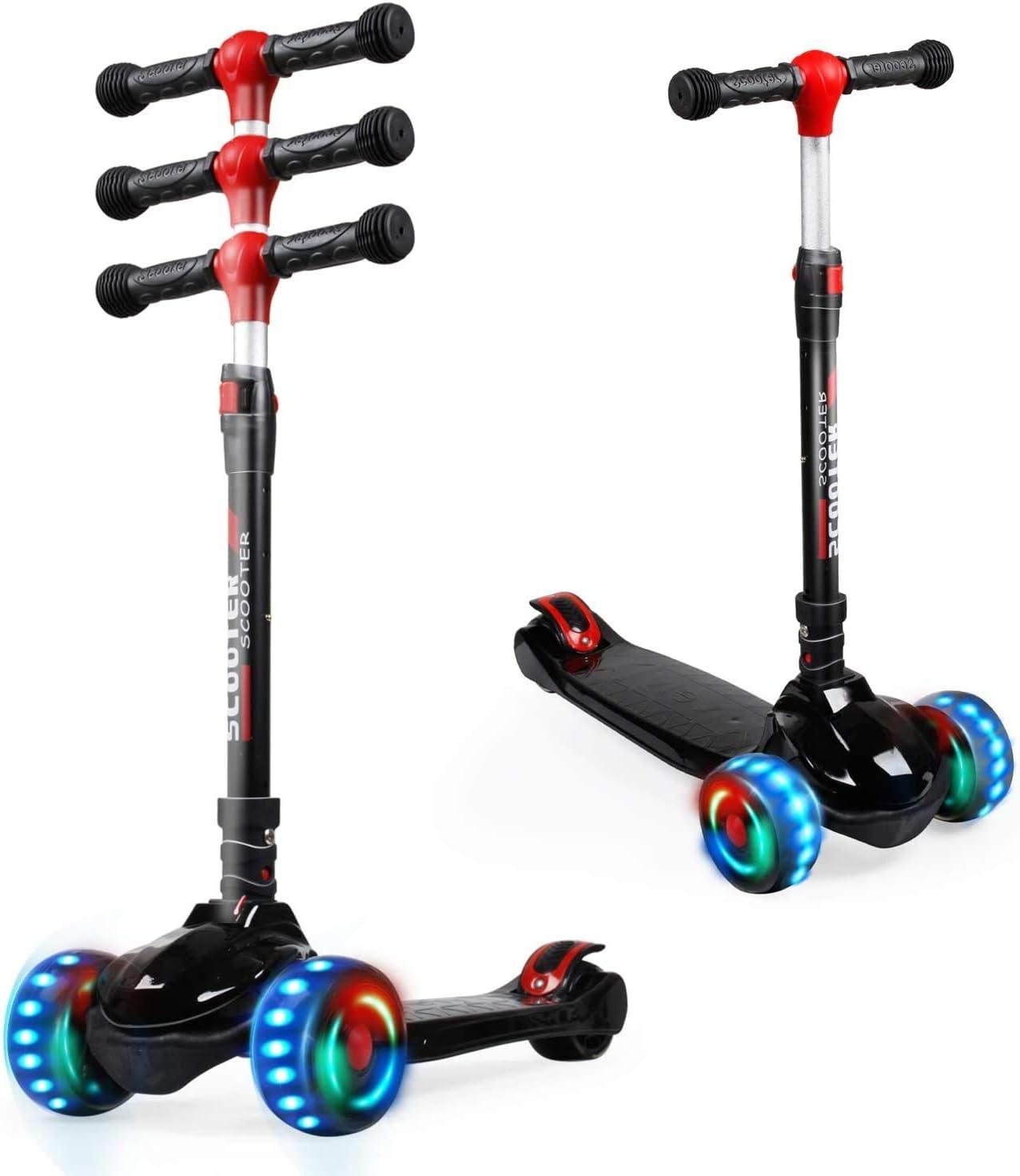 3 ruedas para ni/ños con 3 alturas ajustables Patinete para ni/ños de 2 a 8 a/ños de edad y ni/ña UNI-SUN Scooter infantil con 3 ruedas extra anchas LED de poliuretano con ruedas intermitentes