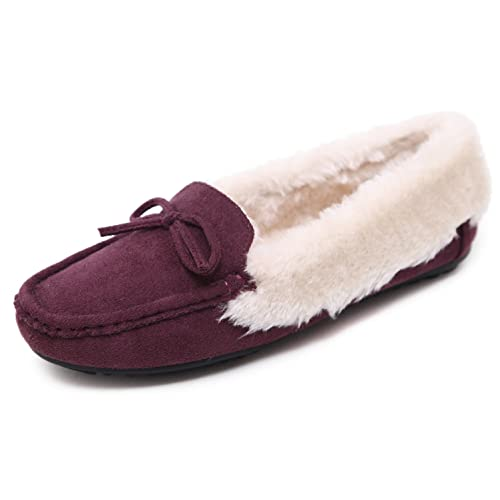 DolphinBanana Bowtie Plush Lined Suede Moccasin Winter Home Slipper Shoes Red