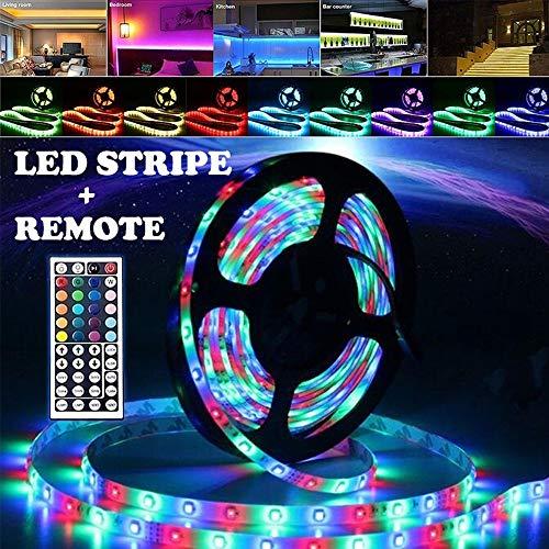 Tira LED RGB, tiras LED RGB tira SMD 3528, luz con mando a distancia por infrarrojos, apta para TV, dormitorio, fiestas y decoración del hogar, con conector USB específico (10 metros)