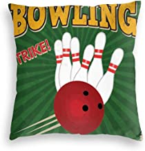 GULTMEE Velvet Soft Decorative Square Accent Throw Pillow Covers Cushion Case,Bowling Balls and Pins Design Western Sport Hobby Leisure Winner Artsy Art Print,for Sofa Bedroom Car 18IN