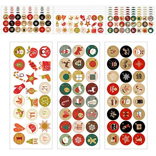 Natalizi Stickers Decorazione Adesivi Natalizi Stickers 360 pz Fogli Adesivi Decorative per Natale Chiudi Buste Regalo Sacchetto Bomboniere