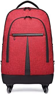 """TONGSH 20"""" Rolling Backpack Carry-on Luggage Wheeled Bag Business Wheeled Backpack Stylish Unisex Campus Backpack Ideal Business Backpack for Travel (Color : Red)"""
