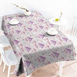 Spill-Proof Table Cover,Swan Princess Dress Gown Magic Shoes Mirror and Cute Swans with Tiaras Pattern,High-end Durable Creative Home,W54x72L Lavander Blush White