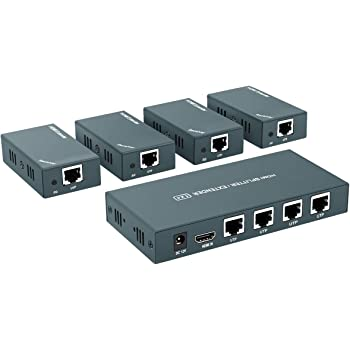 AAO HDMI Extender Splitter 1x4, 1080P@60Hz, Extending 165ft (50m) Length Transmission Over CAT5e/CAT6/CAT7 Cable, 4 Channel Transmission Only 1 Power Adapter