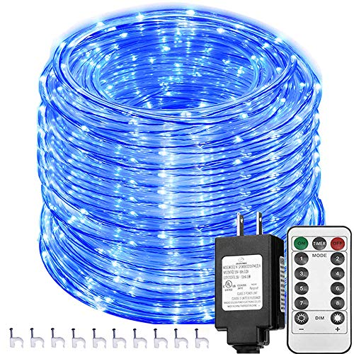 Solhice 66ft 335 LEDs Rope Lights Blue, Waterproof Dimmable Outdoor LED Tube Fairy Light with Remote Control, for Deck, Patio, Wedding, Bedroom Indoor Decor