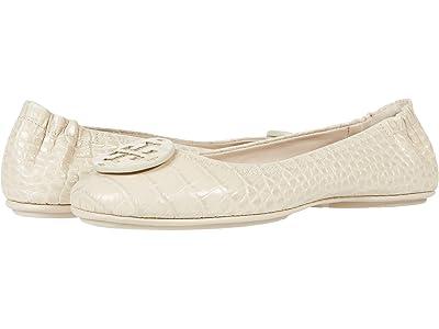 Tory Burch Minnie Travel Ballet w/ Leather Logo (Jamaica Sand) Women