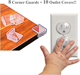 Baby Safety Proof Guards Set Outlet Plug Covers and Corner Protectors Guards (10 Outlet Covers + 10 Corner Guards)