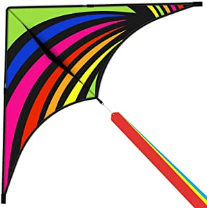 Delta Kite for Kids & Adults, Extremely Easy to Fly Kite with 3 Ribbons and 300ft Kite String, Best Kite for Beginners (Multicolor)