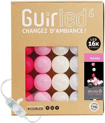 Guirlande lumineuse boules coton LED USB - Veilleuse bébé 2h - Adaptateur secteur double USB 2A inclus - 3 intensités...